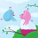 Cute cartoon birds caring for a large egg